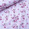Сатин цветы темно-розовые на белом, ш. 160 см