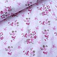 Сатин цветы темно-розовые на белом, ш. 160 см, фото 1