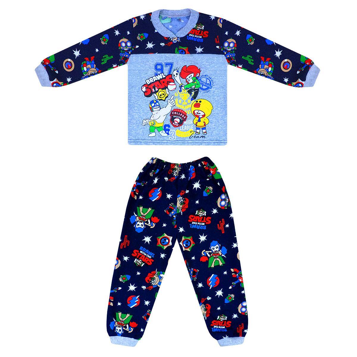 Пижама детская с принтом Brawl stars для мальчика начес