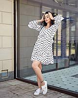 Милое коротенькое платье в горошек белого цвета