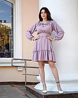 Короткое льняное платье сиреневое
