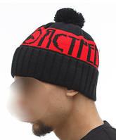Шапка мужская зимняя с помпоном Ястребь красная (модные молодежные, шапки с бубоном)