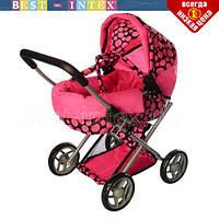 Коляска 9369 MELOGO для куклы Черная в розовый горошек с черными колесами