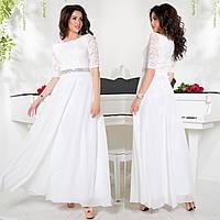 """Длинное белое платье вечернее, на роспись, венчания, свадьбу размеры 42-54 """"Невада"""""""