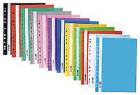Папка-скоросшиватель с перфорацией ГЛЯНЕЦ розовая с прозрачным верхом А4