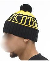 Шапка мужская зимняя с помпоном Ястребь желтая (модные молодежные, шапки с бубоном)