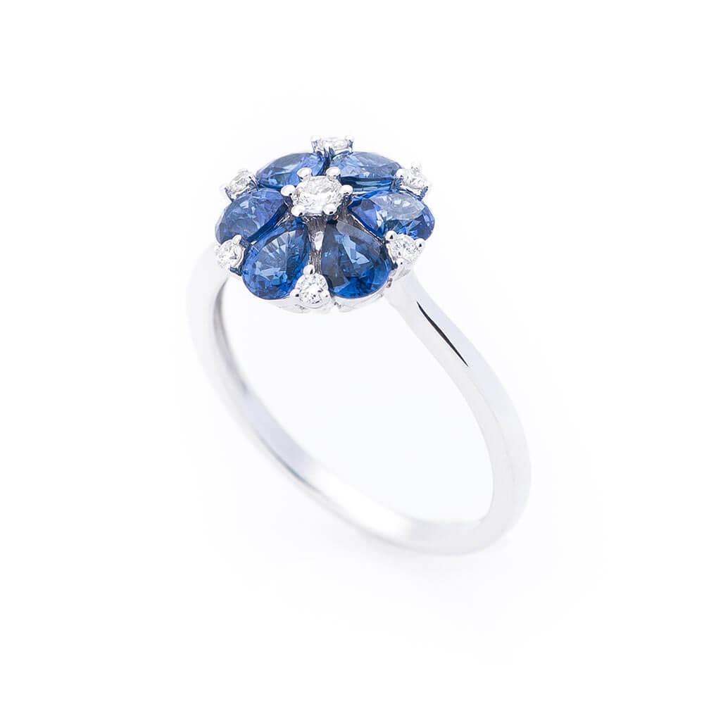 """Кольцо GS  с сапфирами и бриллиантами """"Цветок"""""""