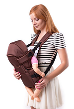 Рюкзак переноска кенгуру, 3 положения, от 2 месяцев до 13 кг, для младенцев Умка Коричневый