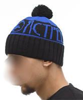 Шапка мужская зимняя с помпоном Ястребь синяя (модные молодежные, шапки с бубоном)