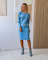 Ангоровый костюм (40-46рр): кофта декорирована кружевной тесьмой + юбка миди, 8 цветов
