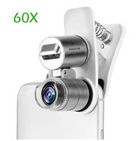 Объектив оптика микроскоп монокуляр увеличитель линза для телефона на iphone смартфона серебристая 60x