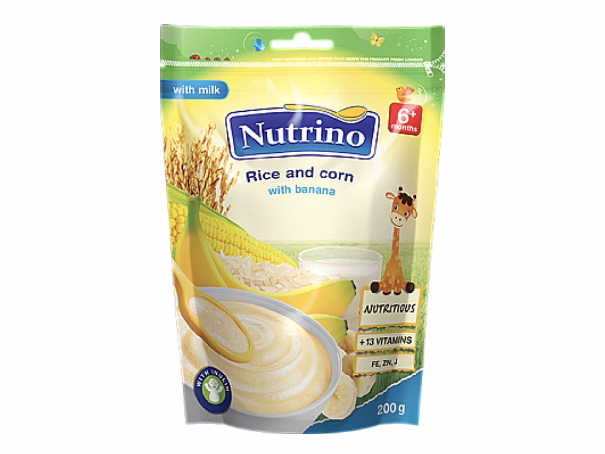 "Каша сухая молочная быстрорастворимая рис ,кукуруза с бананом  200г ТМ ""NUTRINO"" с 6 месяцев."