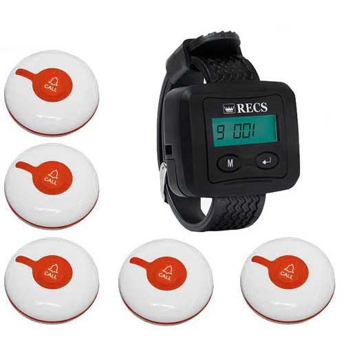 Система виклику медперсоналу RECS №47 | кнопки виклику медсестри 5 шт + пейджер персоналу