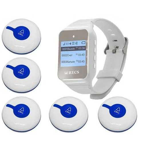 Система виклику медперсоналу RECS №46   кнопки виклику медсестри 5 шт + пейджер персоналу