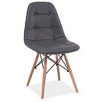 Серый мягкий стул из экокожи в скандинавском стиле Signal Axel на ножках из бука для кухни Польша