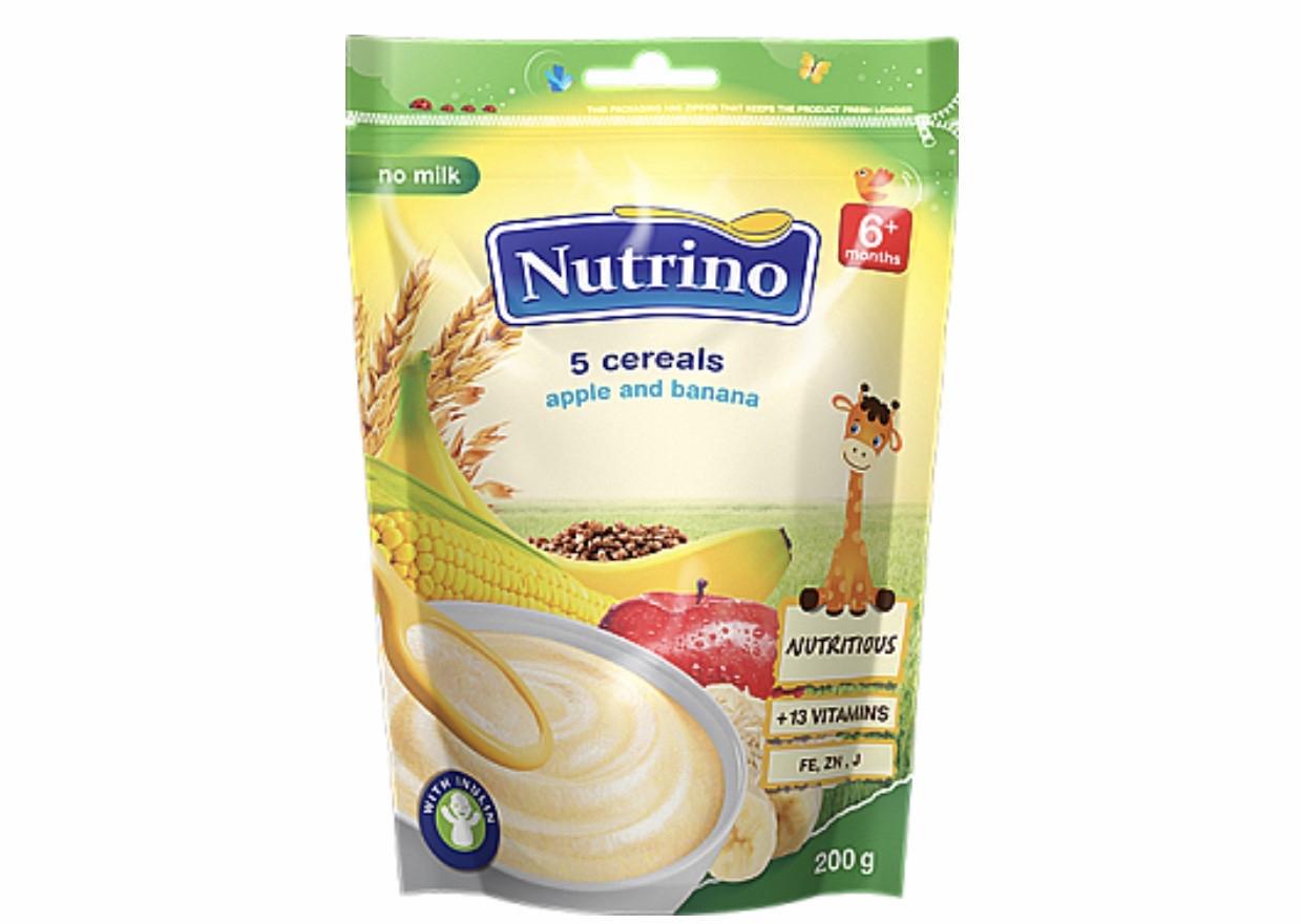 """Каша сухая безмолочная быстрорастворимая 5 злаков,яблоко,банан 200г ТМ """"NUTRINO"""" с 6 месяцев."""