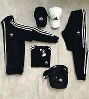 Спортивный костюм мужской, женский Adidas Black - Адидас Черный Лакоста