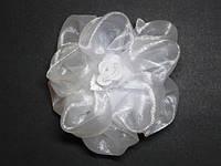 Бант на резинке, роза, белый(4 шт) 21_3_91