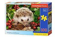 Пазлы Ёжик с ягодами на 100 элементов