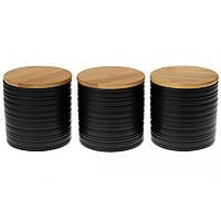 Набор керамических банок 3 шт 550 мл с бамбуковыми крышками с объемным рисунком Линии BonaDi 304-923