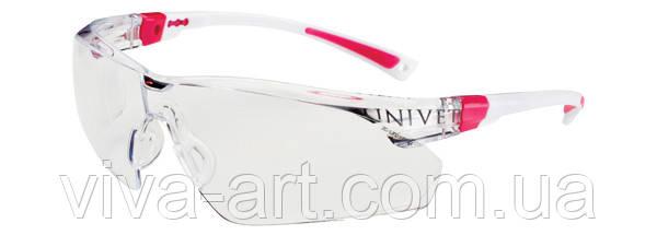 Окуляри захисні 506U незапотіваючі, покриття від подряпин, біло рожева оправа, регул. дужок, Univet (Італія)