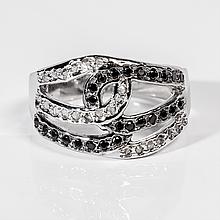 Кольцо с алмазом и цирконом, 1520КА