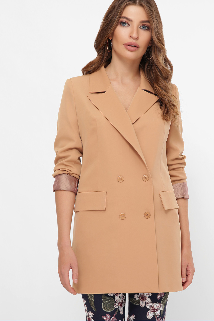 Женский двубортный пиджак песочный Питер