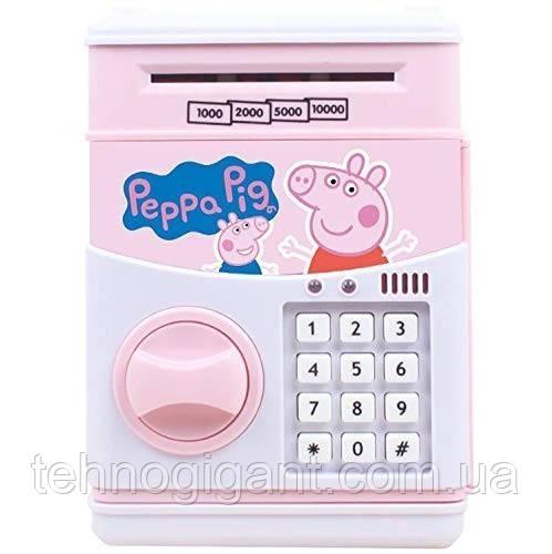 """Детская электронная копилка сейф """" Свинка пеппа""""  с кодовым замком и звуковыми эффектами"""