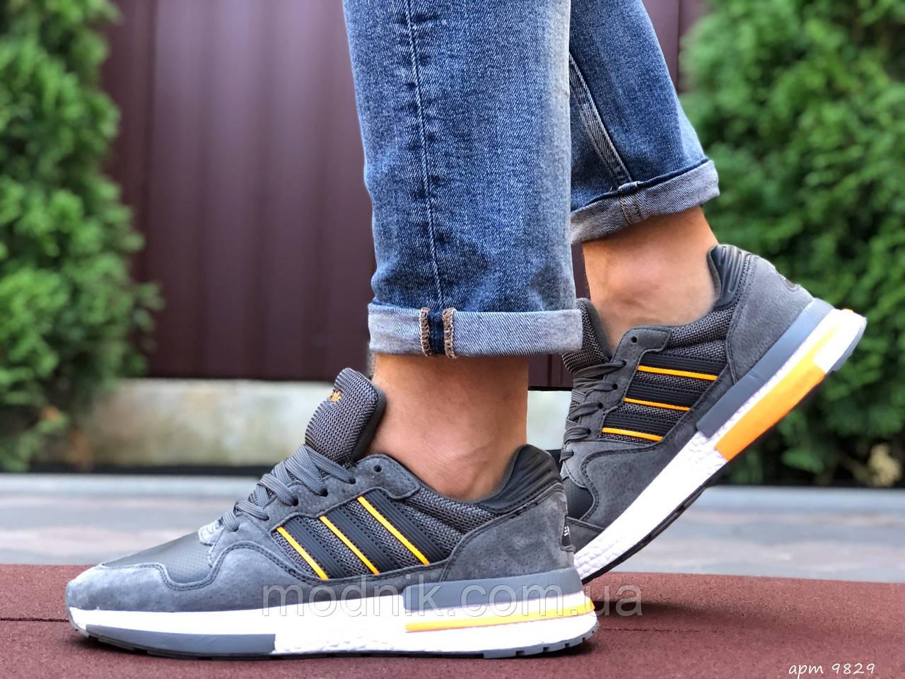 Мужские кроссовки Adidas Zx 500 Rm (серо-белые) 9829