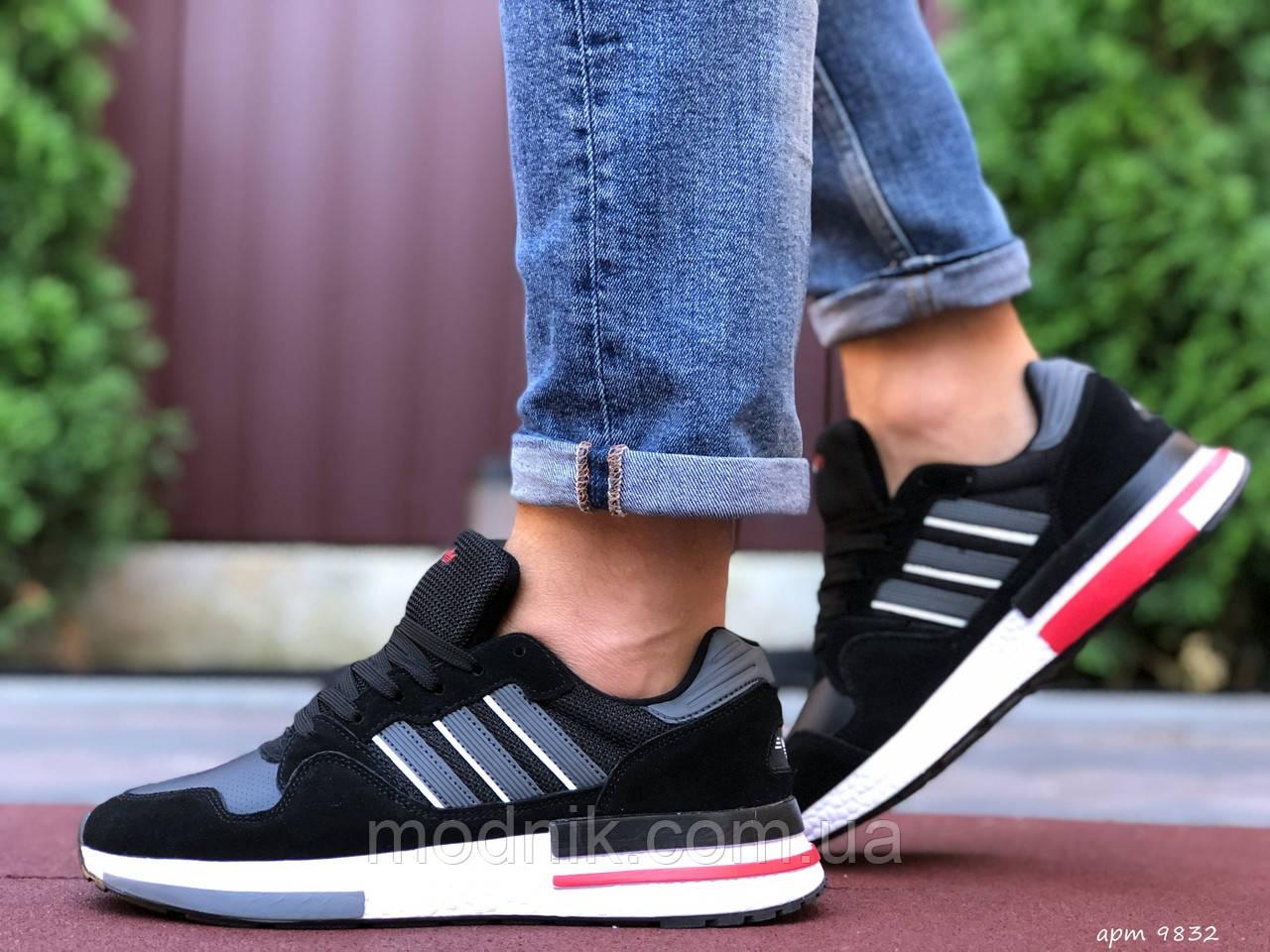 Мужские кроссовки Adidas Zx 500 Rm (черно-белые с красным) 9832