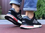 Мужские кроссовки Adidas Zx 500 Rm (черно-белые с красным) 9832, фото 3