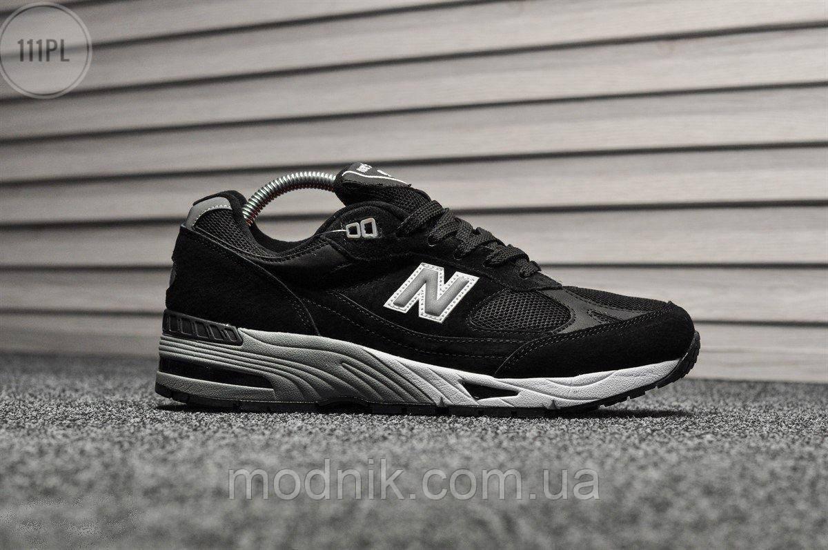 Мужские кроссовки New Balance 991 Black (черные) Рефлективные 111PL