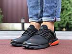 Мужские кроссовки Niке Air Presto (черно-оранжевые) 9833, фото 2