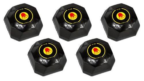Фото: кнопки вызова официанта R-108 Black Bell - 5 штук - комплект системы вызова RECS №29