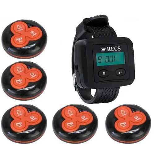 Система вызова официанта RECS №53 | кнопки вызова официанта 5 шт + пейджер официанта