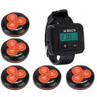 Система вызова официанта RECS №53 | кнопки вызова официанта 5 шт + пейджер официанта, фото 1