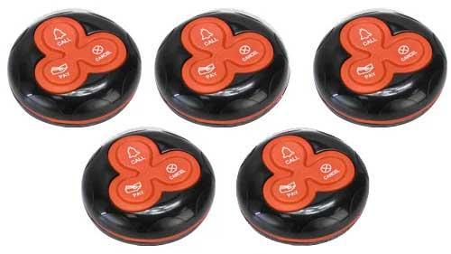 Фото: кнопки виклику офіціанта R-333 Black Red - 5 штук - комплект системи виклику RECS №54