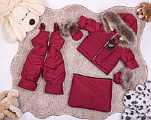 Детский зимний комбинезон трансформер от 0 до 2 лет. Комбинезон три в одном с натуральным мехом енот бордовый
