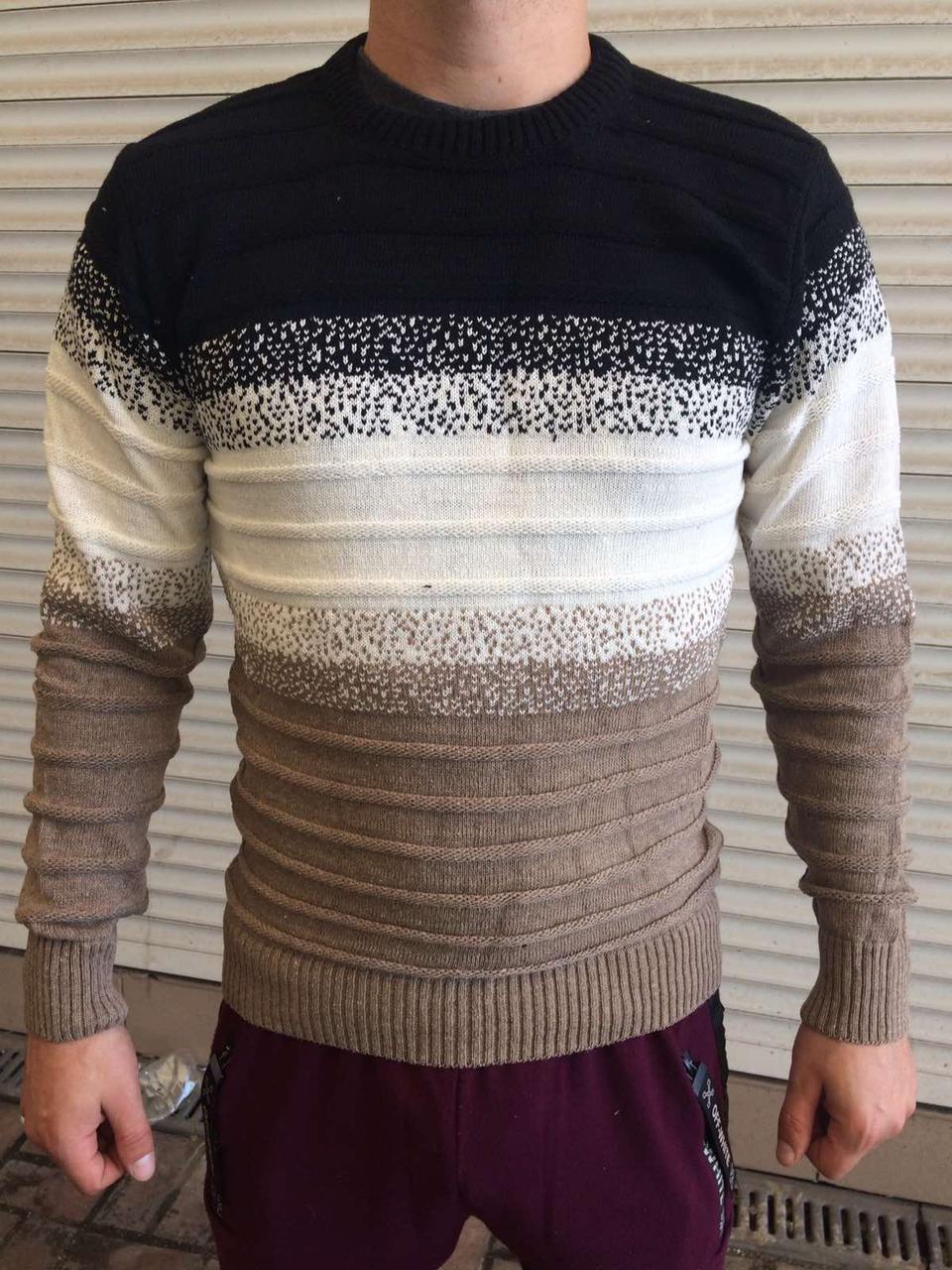 Свитер мужской, тёплый, из шерсти на зиму производство Турция