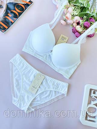 85В Гладкий белый женский комплект нижнего белья с велюровой вставкой, бюстгальтер пуш-ап, фото 2