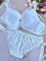 85В Гладкий белый женский комплект нижнего белья с велюровой вставкой, бюстгальтер пуш-ап, фото 3