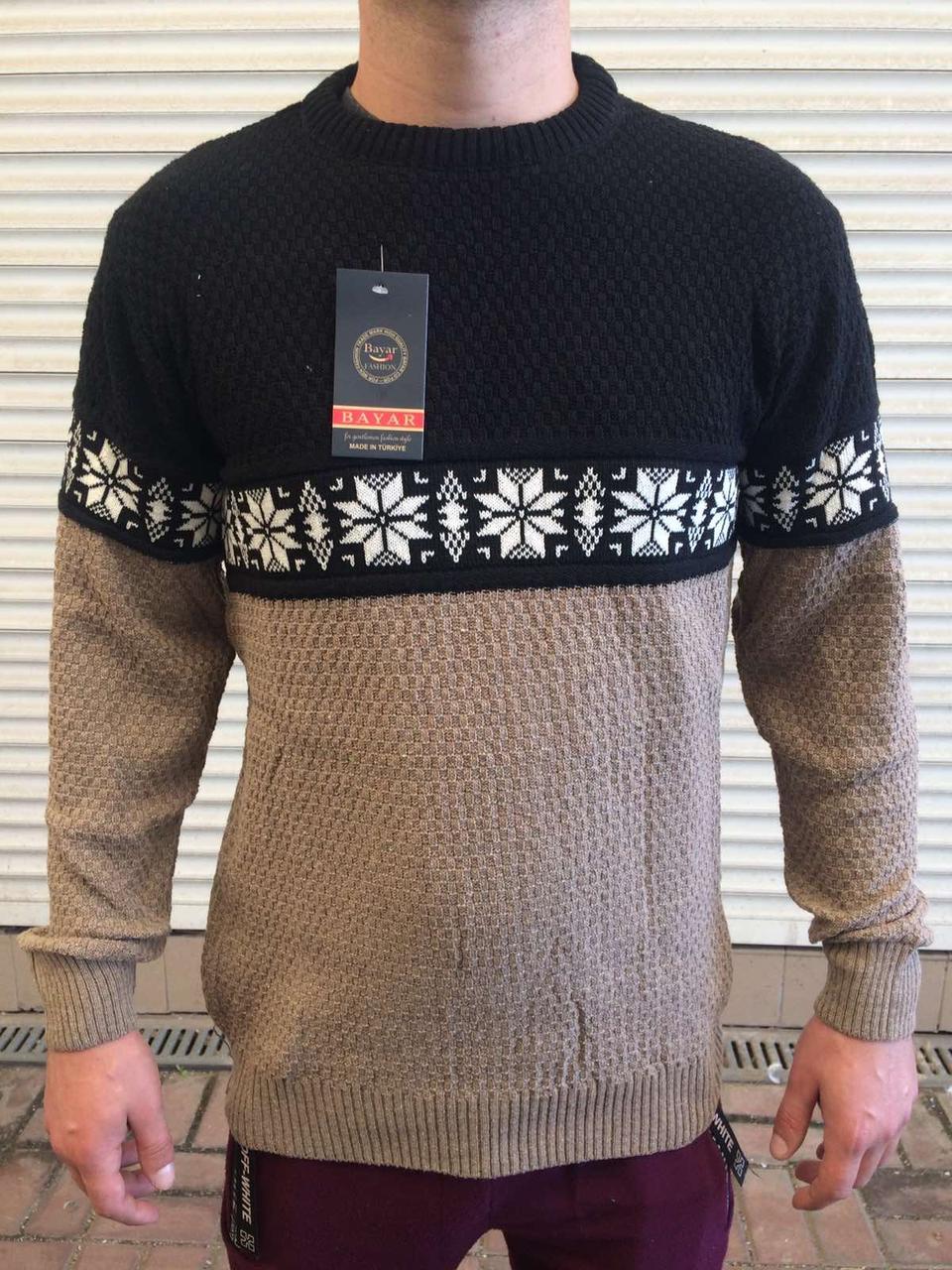 Свитер мужской, тёплый с узорами, из шерсти на зиму производство Турция