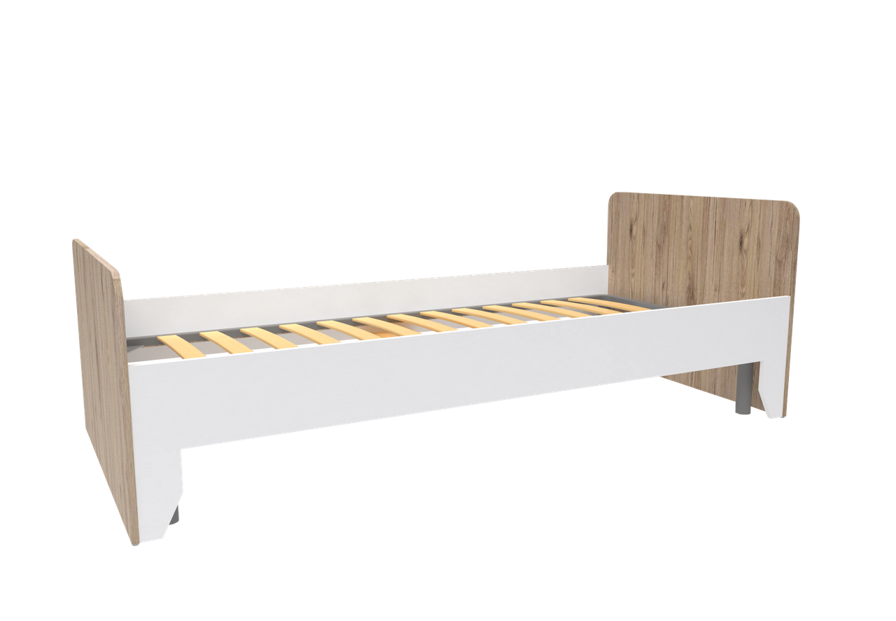 Ліжко Нордік 0,90 м (Секвойя + Білий) + металевий внесок