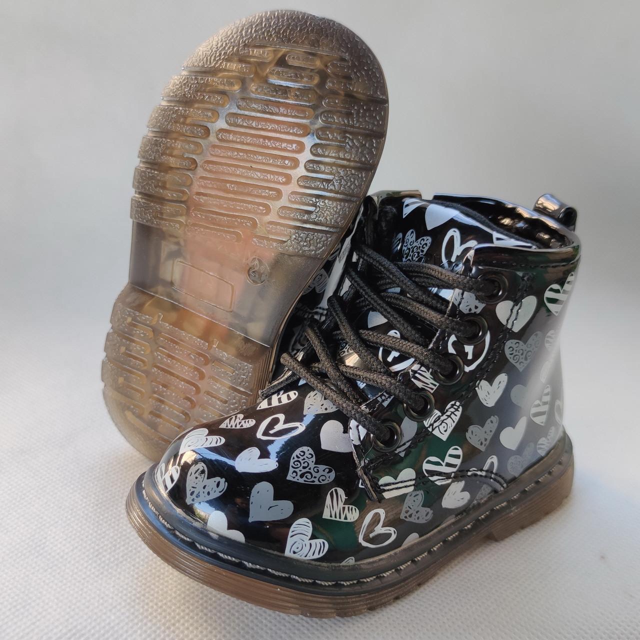 Детские демисезонные ботинки для девочек 21-26р Q120 черные лаковые