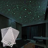 Люминесцентные наклейки звезды (202-шт) светящиеся в темноте, наклейки звездное небо на потолок и стену.