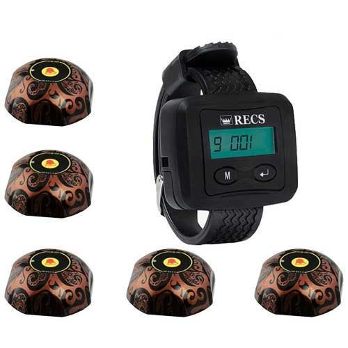 Система вызова официанта RECS №3 | кнопки вызова официанта 5 шт + пейджер официанта