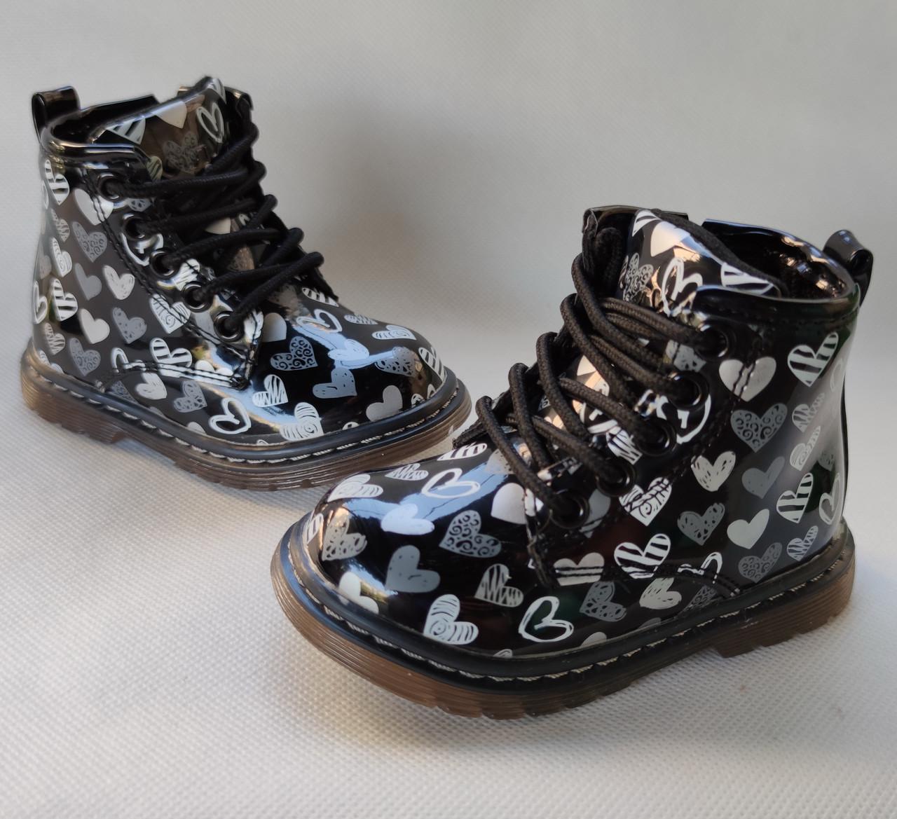 Детские демисезонные ботинки для девочек черные лаковые 22р 13,5см