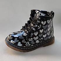 Детские демисезонные ботинки для девочек черные лаковые 22р 13,5см, фото 3