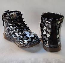 Детские демисезонные ботинки для девочек черные лаковые 22р 13,5см, фото 2
