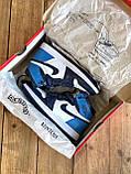 Кроссовки мужские Nike Air Jordan в стиле найк джордан Синие (Реплика ААА+), фото 2